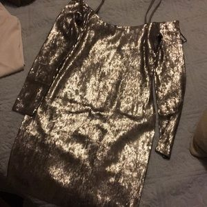 Silver mini sequin dress
